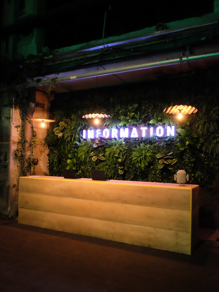 Google, Playtime, Kraftwerk, Berlin, Set Design Berlin, Plant Wall, Industrial Nature
